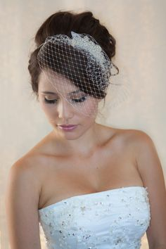 Wedding Birdcage Veil with Crystal rhiestone by WearableArtz, $55.00