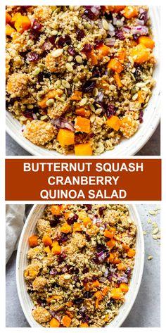 Butternut squash cranberry salad is the BEST fall salad! Made with butternut squash, cranberries, quinoa, pumpkin seeds and Balsamic Vinaigrette. Quinoa Salad Recipes, Vegetarian Recipes, Cooking Recipes, Healthy Recipes, Healthy Food, Vegetarian Cooking, Healthy Meals, Free Recipes, Healthy Eating