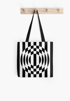 Buy Bold Op Art Deco Circles Tote Bag by Bitart on Redbubble. Black and white Art Deco striped mid-century op art. Abstract geometric optical illusion of thick checked stripes.