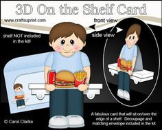 3D On the Shelf Card Kit Take Away Burger Night Boy Benji  on Craftsuprint - View Now!