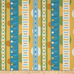 Flock Repeating Stripe Multi from @fabricdotcom  Designed by Thomas Knauer for Andover, this cotton print fabric is perfect for quilting, apparel and home decor accents. Colors include blue, yellow, green and orange.