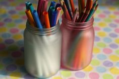 make simple frosted, coloured mason jars with glue and food colouring (happy hooligans)