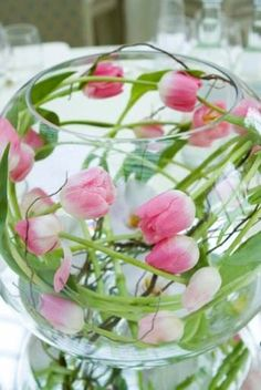 Tablecentre of pink tulips by Emma Walker Flowers