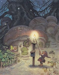 Illustration by Fritz Baumgarten. Erich Heinemann: gnomes, mushrooms, and lanters--the perfect combination for a children's book Art And Illustration, Book Illustrations, Fantasy World, Fantasy Art, Elfen Fantasy, Baumgarten, Elves And Fairies, Fairytale Art, Fairy Art