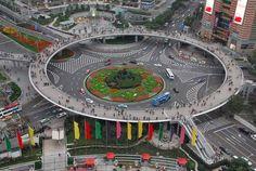 Pedestrian bridge in Shanghai, China