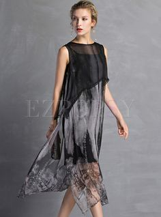 Shop for high quality Silk Floral Print Slit Sleeveless Shift Dress online at cheap prices and discover fashion at Ezpopsy.com