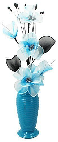 Flourish 814 Vase with Teal Blue/White Nylon Flower in Thick Wire, Teal in Home, Furniture & DIY, Home Decor, Dried & Artificial Flowers | eBay!