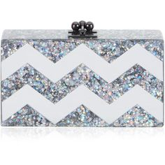 Edie Parker Jean Chevron Clutch In Brilliant Star And Mirror ($1,295) ❤ liked on Polyvore featuring bags, handbags, clutches, star handbags, chevron print handbags, chevron print purse, kiss-lock handbags y mirror purse