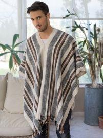 Poncho en laine de mouton pour homme