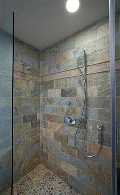 Tile for shower and shower floor (peacock slate + river pebbles)