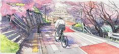 Bicycle Boy in Japan – Une jolie série de peintures aquarelles par Mateusz