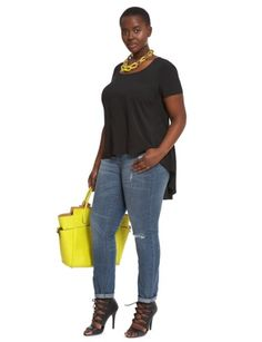 Black Tee, Boyfriend Jeans, Strappy Heels, Yellow Bag | ELOQUII