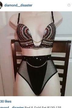 Exotic Dancewear Crystal Rhinestone Bra and Thong set