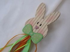 This sophisticated bow tie wearing bunny is ready for Easter! The cute wooden bunny figure is decorated with orange and green ribbons to match his carrot! Easter 2013, Green Ribbon, Easter Bunny, Bows, Etsy Shop, Candles, Tie, Christmas Ornaments, Holiday Decor