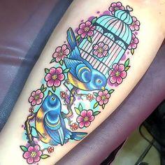 Lovely Birds and Birdcage Tattoo Idea