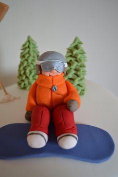 Snowboarder fondant figure detail