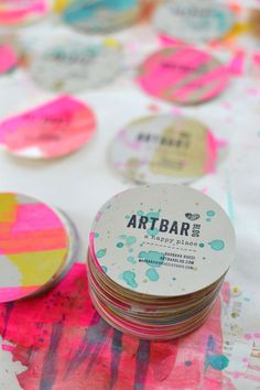 341 best creative business cards images on pinterest business i like this because of circle shape that makes it different than other usual rectangle shaped designs also it is a handmade card with colourful in splashes reheart Gallery
