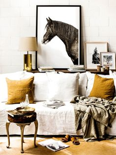 Fall Art Trends: Prairie Art : Shop domino for the top brands in home decor and be inspired by celebrity homes and famous interior designers. domino is your guide to living with style. Sweet Home, Kara Rosenlund, Famous Interior Designers, Equestrian Decor, White Couches, White Walls, The Design Files, Interiores Design, Colorful Decor