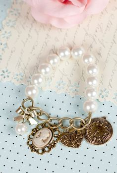 Canterbury Tales Charm Pearl Bracelet | Sincerely Sweet Boutique