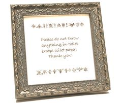 Septic Sign  Antique Silver by Saframes on Etsy, $20.00 I use this to nicely notify guests that we have a septic system.