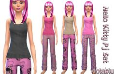Hello Kitty Pj Set in 4 mix and match patterns | Sims 4 Updates -♦- Sims Finds & Sims Must Haves -♦- Free Sims Downloads