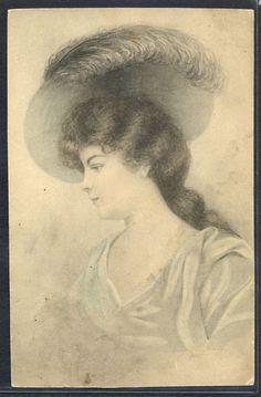 QR105 VIENNE Style a/s SALMONY Portrait de FEMME au CHAPEAU FASHION HAT LADY
