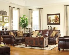 Ashley Leather Sofa and Loveseat | Ashley Traditional Genuine Leather Couch Sofa and Loveseat Brown Set ...