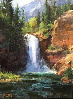 """""""Running Eagle Falls Glacier"""" oil by Kathryn Stats Watercolor Landscape Paintings, Nature Paintings, Beautiful Paintings, Beautiful Landscapes, Watercolor Art, Fantasy Landscape, Landscape Art, Waterfall Paintings, River Painting"""
