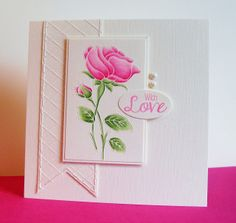 white embossing and coloured with prisma colour pencils
