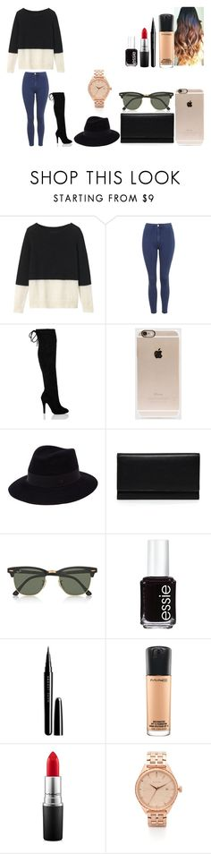 """Untitled #439"" by kalieh092 on Polyvore featuring Toast, Topshop, Incase, Maison Michel, Carré Royal, Ray-Ban, Essie, Marc Jacobs, MAC Cosmetics and Nixon"