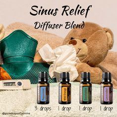 Diffuser Blend - Sinus Relief - Peppermint, Wild Orange, Eucalyptus & Lavender Try this is a nice change from Easy Air in the diffuser when you need help to clear your sinuses. Oils For Sinus, Essential Oils For Headaches, Essential Oils Guide, Essential Oil Diffuser Blends, Doterra Essential Oils, Doterra Blends, Stuffy Nose Essential Oils, Doterra Oil Diffuser, Essential Oil Sinus Headache