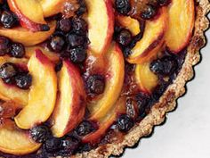 Peach and Blueberry Tart with Pecan Crust - If you prefer your peaches skinned, by all means go ahead and peel them for this tasty tart.