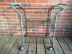Vintage Industrial Rolling Laundry Cart Flower Cart by GretasPlace