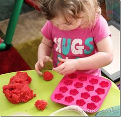 """two-year-old Lily making play dough """"cakes"""" Sensory Activities, Craft Activities For Kids, Sensory Play, Diy Crafts For Kids, Toddler Activities, Play Doh Fun, Pretend Play, Play Dough, Role Play"""