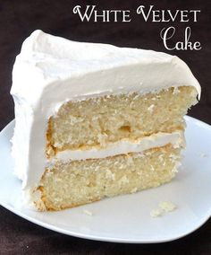 White Velvet Cake. Developed from an outstanding Red Velvet Cake recipe, this white cake is a perfectly moist and tender crumbed cake that would make an ideal birthday cake.