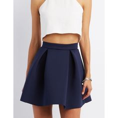 Charlotte Russe Scuba Knit Skater Skirt ($21) ❤ liked on Polyvore featuring skirts, navy blue, high-waist skirt, flared skater skirt, high waisted skirts, circle skirt and knit skirt