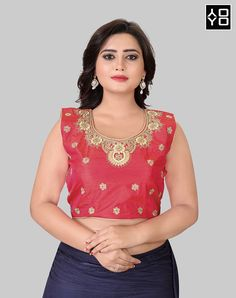 Red Embroidered Round Neck Blouse Online On YOYOFashion. Call or Whatsapp for more info here: 8000588688 Red Blouses, Blouses For Women, Readymade Blouses Online, Designer Blouses Online, Colour Blocking Fashion, Fancy Suit, Blouse Batik, Indian Party Wear, Indian Fashion