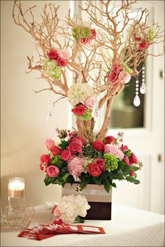 Tall, elegant floral centerpieces from The Ritz-Carlton in Dana Point, CA