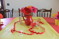 Rick Rack, vintage valentines and DIY arrangements using bulk flowers from Sam's Club  #red #yellow #babyshower #decor #retro #vintage #rickrack #DIY #samsclub