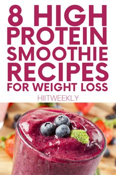 8 Protein Smoothie Recipes For Weight Loss - HIITWEEKLY Quick and easy protein shake recipes. Discover 8 delicious protein smoothie recipes for weight loss here. Easy Protein Shakes, High Protein Smoothies, Protein Smoothie Recipes, Fruit Smoothies, Breakfast Protein Smoothie, Simple Smoothie Recipes, Vegetable Smoothie Recipes, Weight Loss Protein Shakes, Diabetic Smoothies