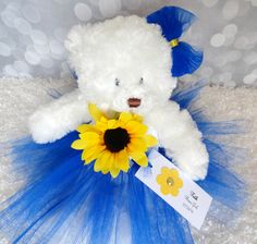 Royal Blue Sunflower Tutu Teddy Bear