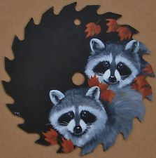 Hand Painted Saw Blade Raccoons Leaves Autumn Original Painting Cabin Decor
