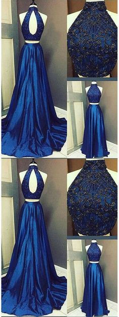 Halter Royal Blue Beaded Evening Dress, Sexy Two