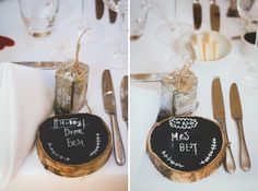 Log Blackboard Place Setting Wedding Names http://www.claudiarosecarter.co.uk/