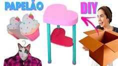 DIYs COM PAPELÃO 📦: MESA FOFINHA, CABIDE & CUPCAKE CACHEPÔ | Paula Steph...