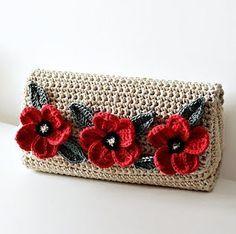 Crochet Poppy Flower Clutch