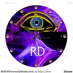 BLUE EYE Doctor,Ophthalmic,Oculist Symbol,Purple Large Clock