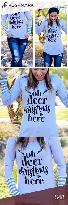 """Oh Deer Christmas Is Here Top Oh deer, Christmas is here! Super stretchy, comfy top in light grey with striped cuffs. 95% rayon, 5%spandex. True to size. Made in USA.   * Before asking, please note whatever sizes are listed below are all I currently have in stock.   ▫️Add to Bundle"""" to add more items in my closet or """"Buy"""" to checkout here with your size.  ↓Follow me on Instagram ↓         @ love.jen.marie Jennifer's Chic Boutique Tops Tees - Long Sleeve"""