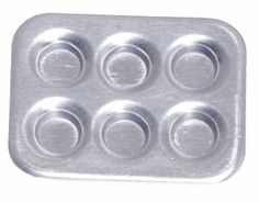 """Dollhouse Miniature Muffin Pan Set by Aztec Imports. $4.99. Metal. 1/12th Scale Muffin Tins Set. Can be used empty or fill. Dollhouse miniature muffin tin set, set of 6, all metal.  3/4"""" by 5/8"""""""