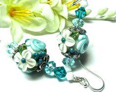 Saturn Earrings Lampwork Earrings Handmade by SeeMyJewelry on Etsy